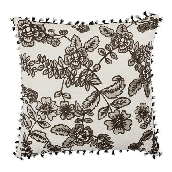 Flora Black Cushion. Australian Art Prints and Homewares. Green Door Decor. www.greendoordecor.com.au