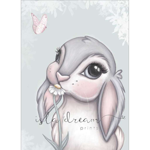 Freya Bunny - mint background, by Sailah Lane. Australian Art Prints. Green Door Decor.  www.greendoordecor.com.au