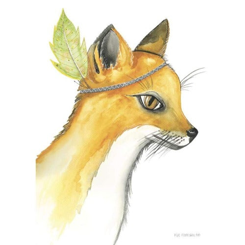 Fudge the Fox print, by Kylie Ferriday. Australian Art Prints. Green Door Decor.  www.greendoordecor.com.au