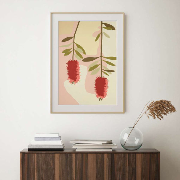 Bottle Brush, Native Glory by Kim Haines. Australian Art Prints. Green Door Decor.  www.greendoordecor.com.au
