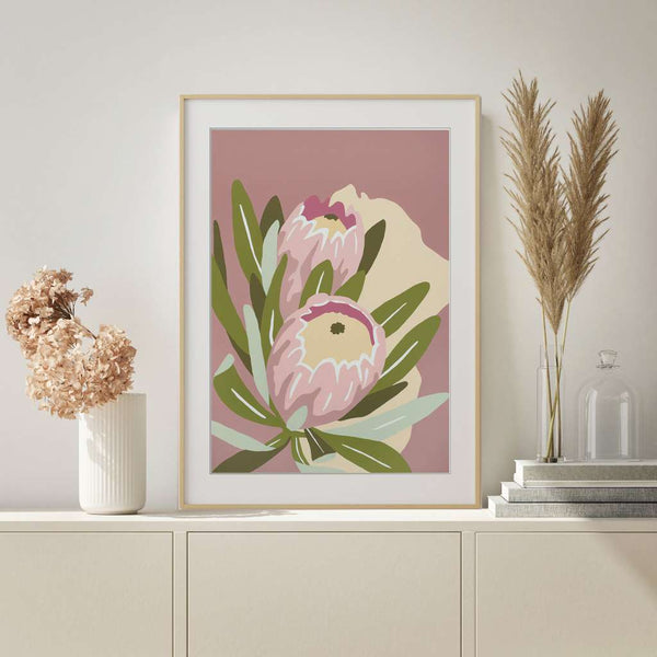Proteas, Native Glory by Kim Haines. Australian Art Prints. Green Door Decor.  www.greendoordecor.com.au