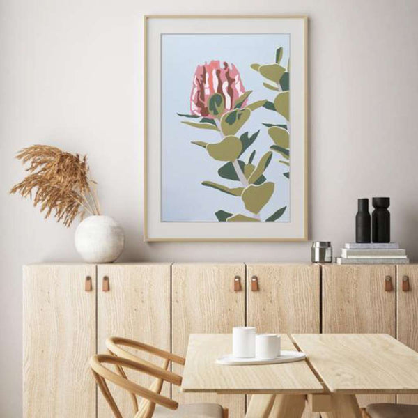 Scarlet Banksia, Native Glory by Kim Haines. Australian Art Prints. Green Door Decor.  www.greendoordecor.com.au