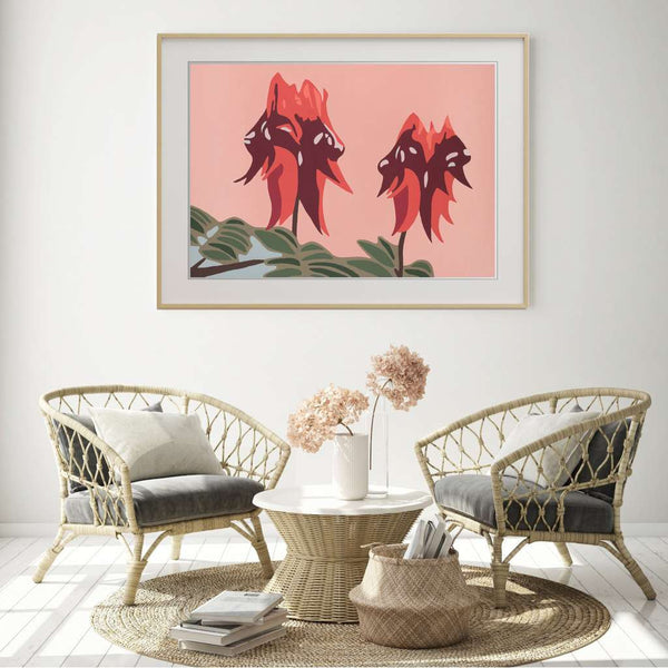 Sturt Desert Pea, Native Glory by Kim Haines. Australian Art Prints. Green Door Decor.  www.greendoordecor.com.au