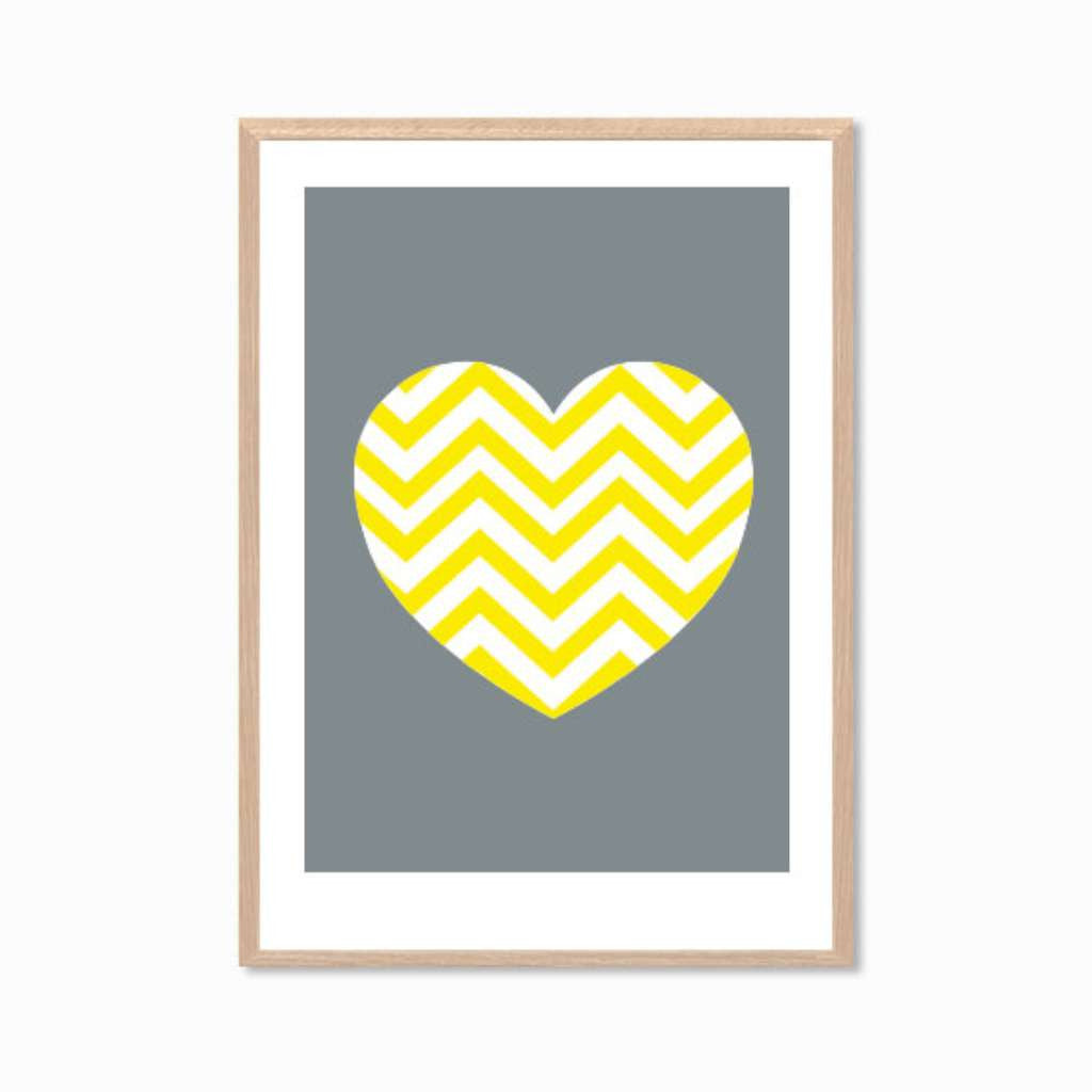 Heart in Yellow Chevron