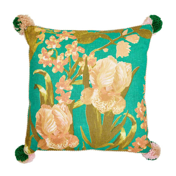 Iris Emerald Cushion. Australian Art Prints and Homewares. Green Door Decor. www.greendoordecor.com.au
