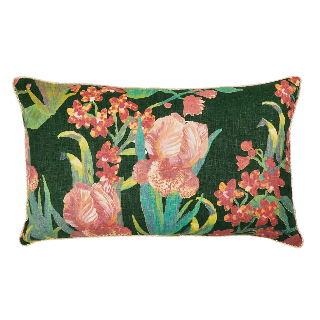 Iris Green Cushion. Australian Art Prints and Homewares. Green Door Decor. www.greendoordecor.com.au