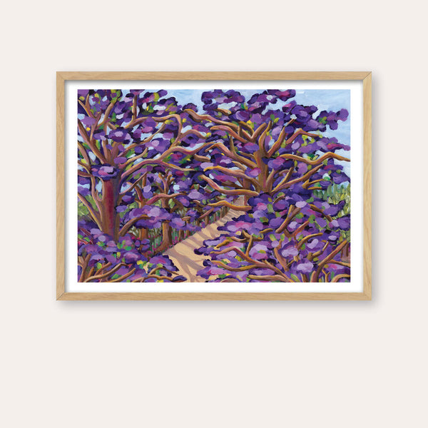 Jacaranda Lane Fine Art Print - framed - by Daniela Fowler Art. Australian Art Prints. Green Door Decor. www.greendoordecor.com.au