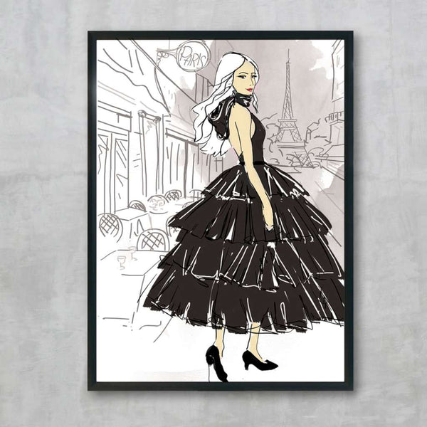 Jennifer in Paris - Black, by Skart & Savvy Designs. Australian Art Prints. Green Door Decor.  www.greendoordecor.com.au