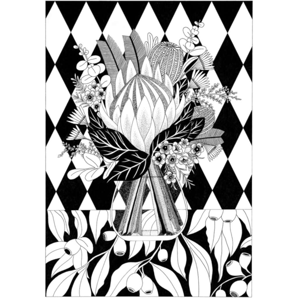King Protea in black/white Print, by Claire Ishino. Australian Art Prints. Green Door Decor. www.greendoordecor.com.au