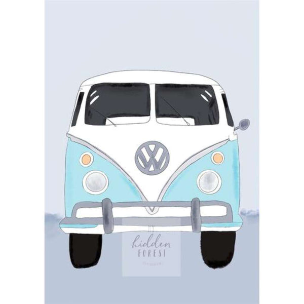 Kombi Van - Aqua Blue Print 1, by My Hidden Forest. Australian Art Prints. Green Door Decor. www.greendoordecor.com.au