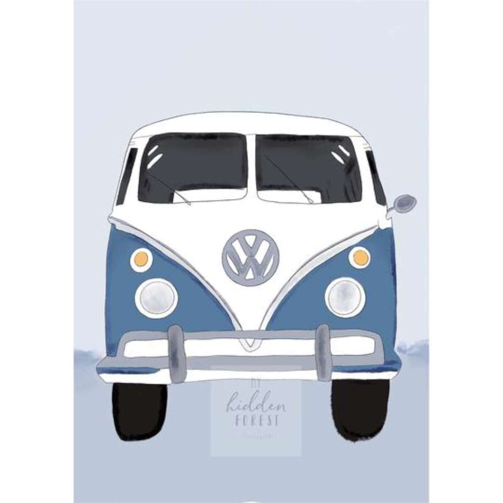 Kombi Van - Dusty Blue Print 1, by My Hidden Forest. Australian Art Prints. Green Door Decor. www.greendoordecor.com.au