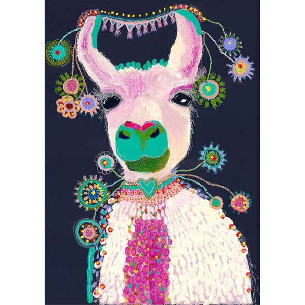 Lacey the Llama by Grotti Lotti. Australian Art Prints. Green Door Decor.  www.greendoordecor.com.au