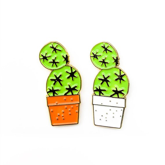 HMM Lapel Pin - Cactus in White Pot