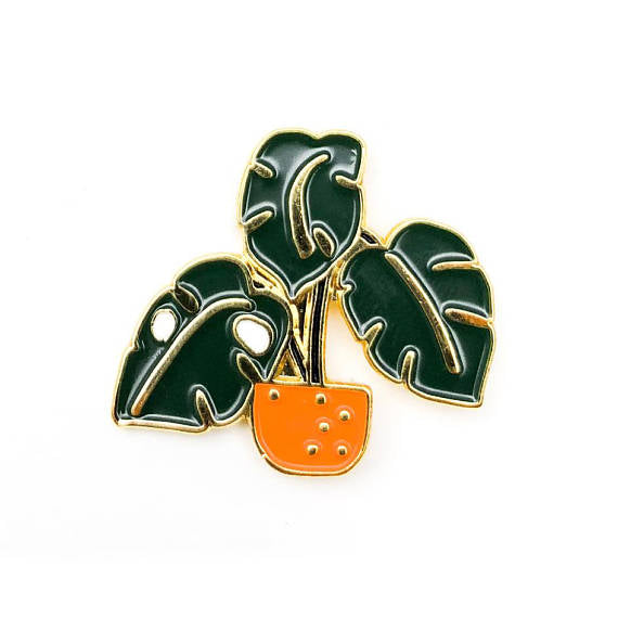 HMM Lapel Pin - Monstera in Orange Pot
