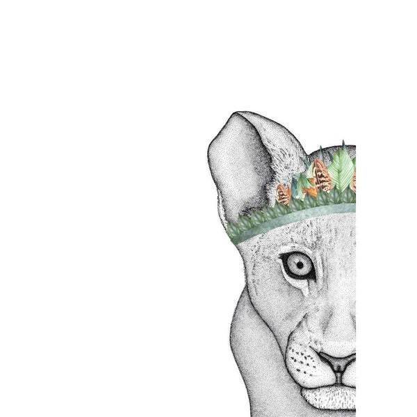 Lenny the Lion Cub with Foliage Crown, by Dots by Donna. Australian Art Prints. Green Door Decor. www.greendoordecor.com.au