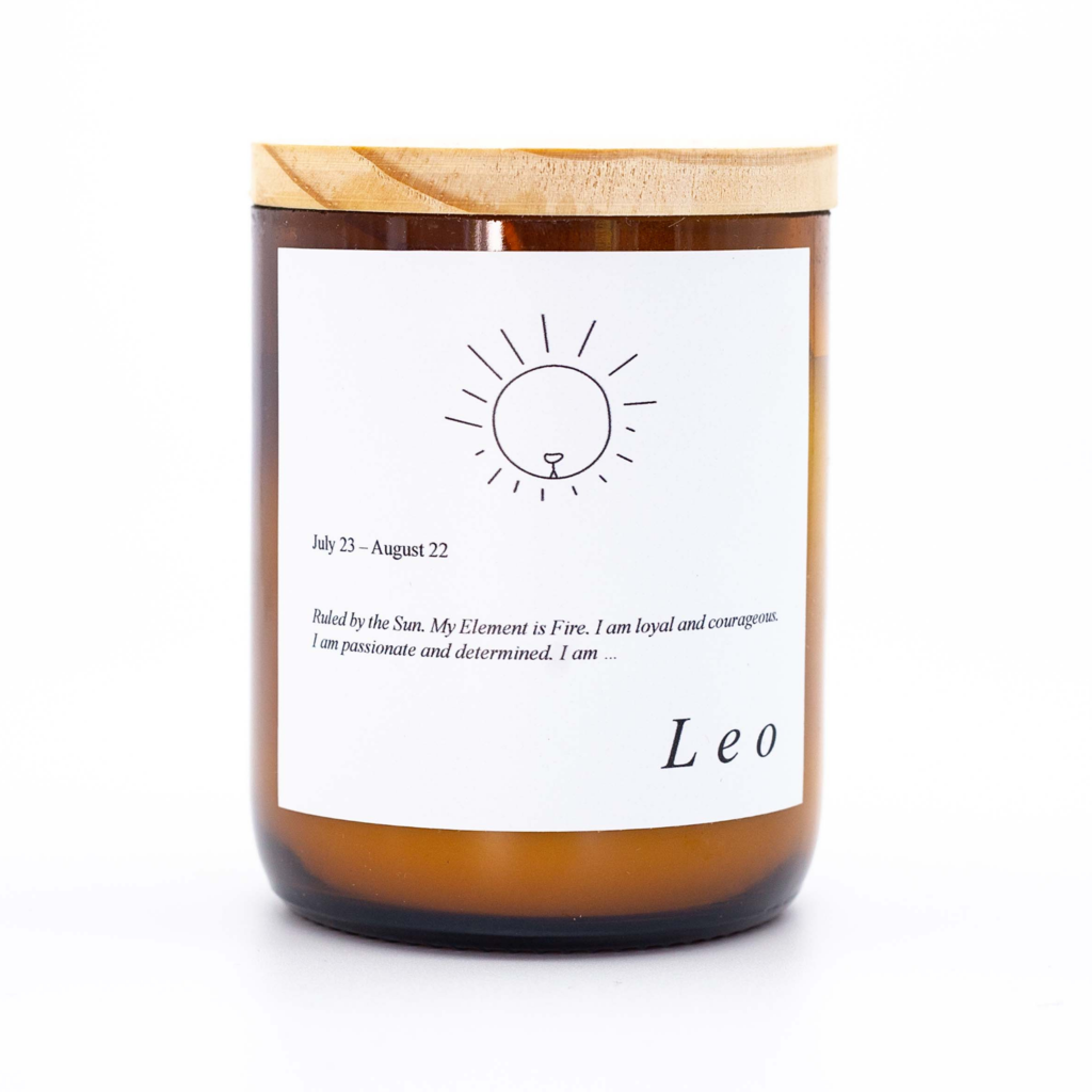 Leo Zodiac Candle. Australian Art Prints and Homewares. Green Door Decor. www.greendoordecor.com.au