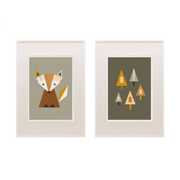 Little Fox & Trees Set - Brown