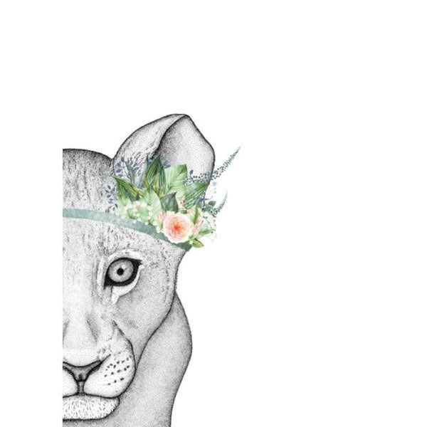 Livinia the Lion Cub with Foliage Crown, by Dots by Donna. Australian Art Prints. Green Door Decor.  www.greendoordecor.com.au