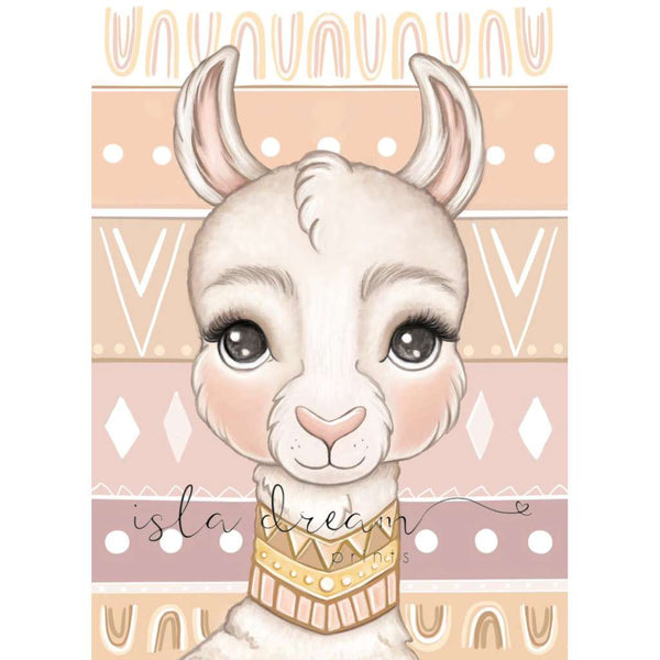 'Loki the Llama - Boho Background' Print