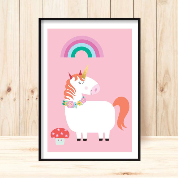 'Lovely Unicorn (pink)' Print
