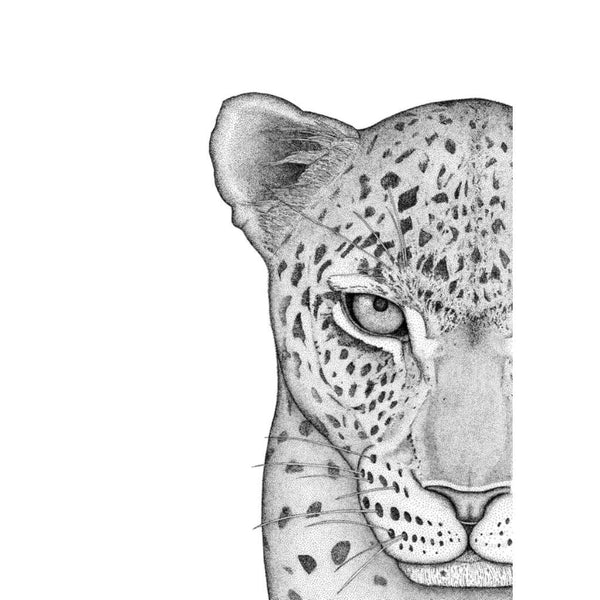 Luca the Leopard - Left, by Dots by Donna. Australian Art Prints. Green Door Decor.  www.greendoordecor.com.au
