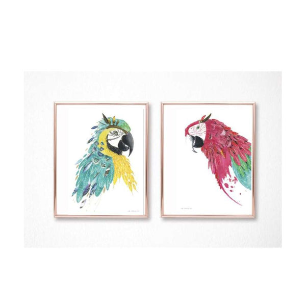 Macaw Set of 2 - Tango & Chilli prints, by Kylie Ferriday. Australian Art Prints. Green Door Decor.  www.greendoordecor.com.au