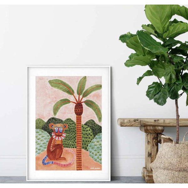 Mekhi the Monkey Fine Art Print - framed - by Karina Jambrak. Australian Art Prints. Green Door Decor. www.greendoordecor.com.au