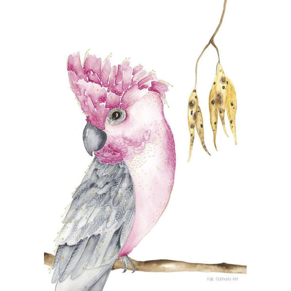 Meryl the Galah print, by Kylie Ferriday. Australian Art Prints. Green Door Decor.  www.greendoordecor.com.au