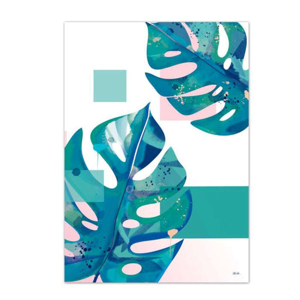 Monstera (White & Pink)