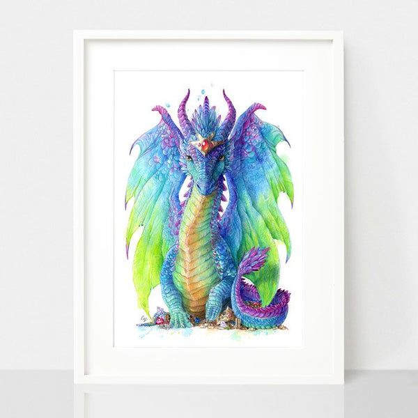 Mystic Dragon print, by Earthdrawn Studio. Australian Art Prints. Green Door Decor.  www.greendoordecor.com.au