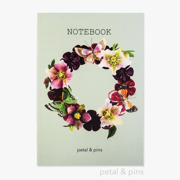 Butterfly Garland Notebook in Pistachio - by Petals & Pins. Australian Art Prints. Green Door Decor. www.greendoordecor.com.au