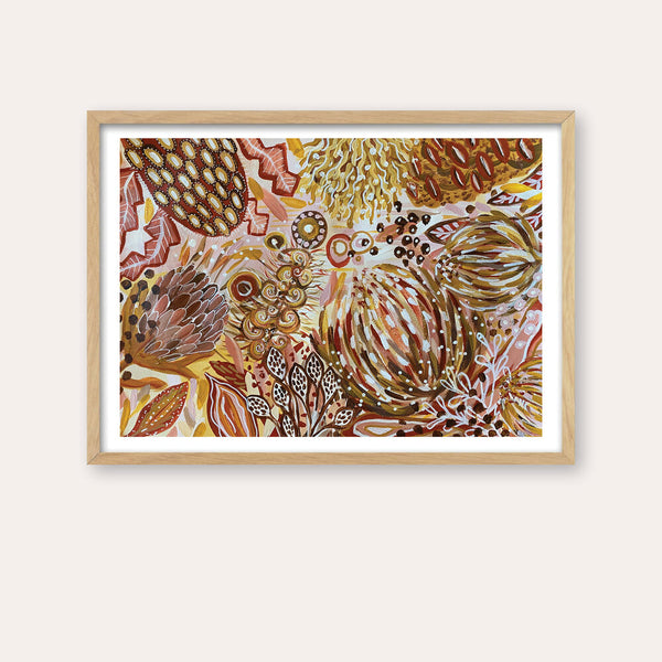 Native Botanicals Fine Art Print - framed - by Daniela Fowler Art. Australian Art Prints. Green Door Decor. www.greendoordecor.com.au
