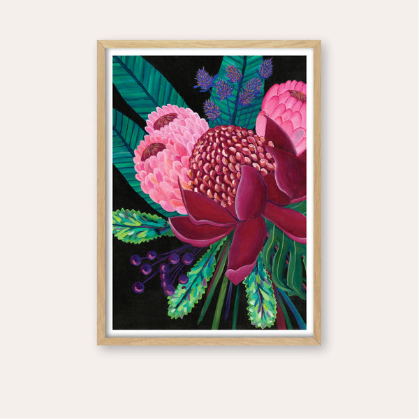 Native Bouquet Fine Art Print - framed - by Daniela Fowler Art. Australian Art Prints. Green Door Decor. www.greendoordecor.com.au
