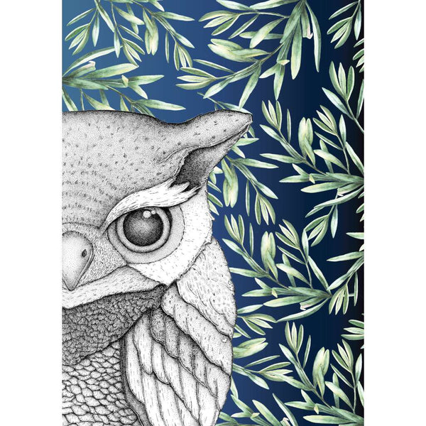 Oliver the Owl with Leaves - Midnight, by Dots by Donna. Australian Art Prints. Green Door Decor. www.greendoordecor.com.au
