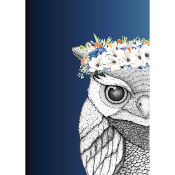 Olivia the Owl with Flower Crown - Midnight, by Dots by Donna. Australian Art Prints. Green Door Decor. www.greendoordecor.com.au