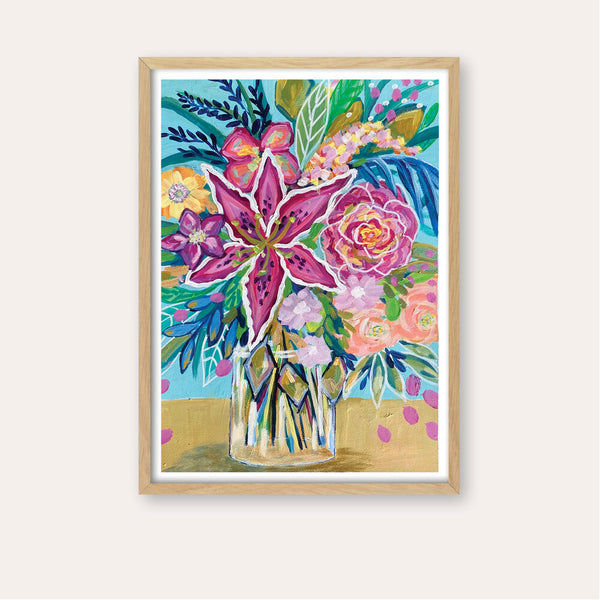 Oriental Lilly Fine Art Print - framed - by Daniela Fowler Art. Australian Art Prints. Green Door Decor. www.greendoordecor.com.au