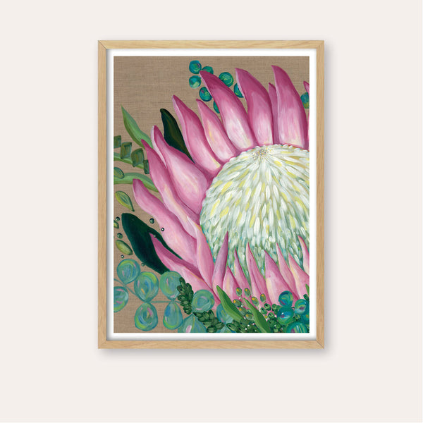 Pastel Protea on Linen Fine Art Print - framed - by Daniela Fowler Art. Australian Art Prints. Green Door Decor. www.greendoordecor.com.au