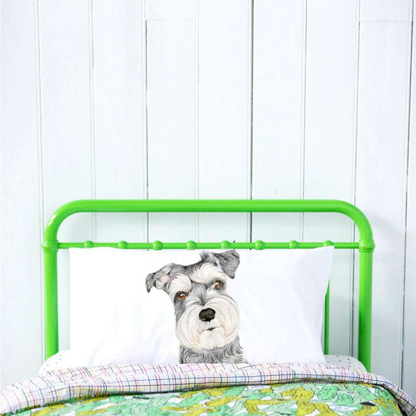 Chloe the Schnauzer Pillow Case by For Me By Dee. Australian Art Prints. Green Door Decor.  www.greendoordecor.com.au