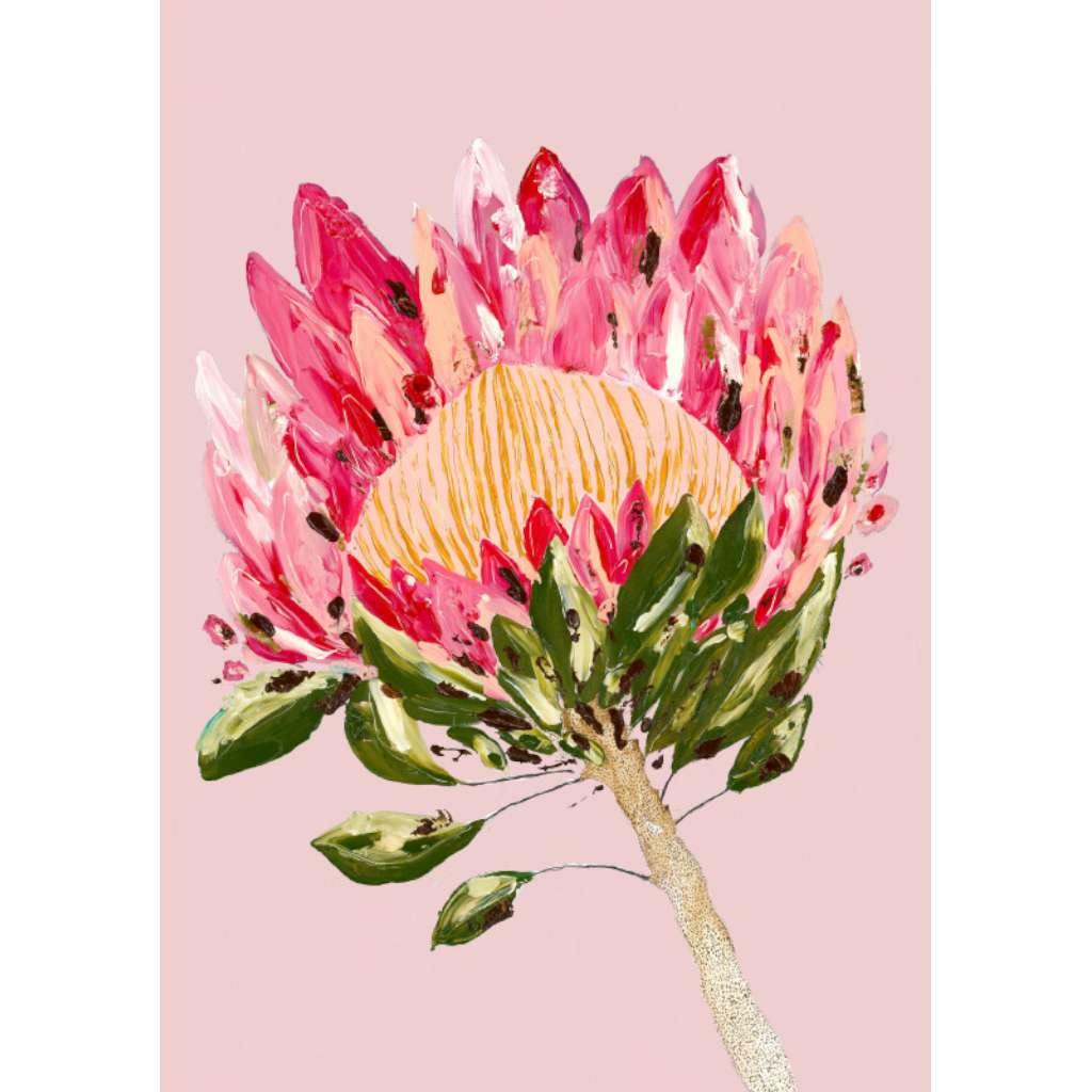 Protea Party (Pink) by Grotti Lotti. Australian Art Prints. Green Door Decor.  www.greendoordecor.com.au