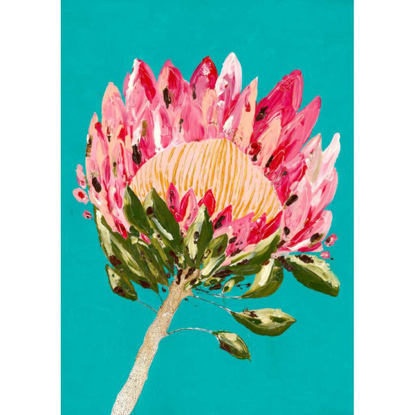 Protea Party (Turquoise) by Grotti Lotti. Australian Art Prints. Green Door Decor.  www.greendoordecor.com.au