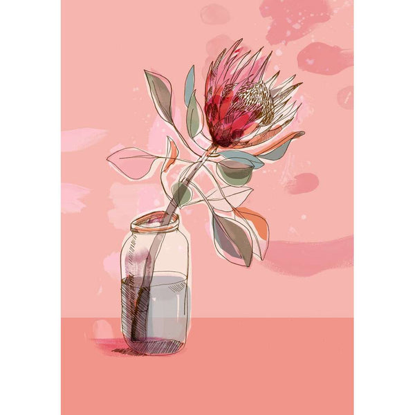 Protea in a Jar - Pink - unframed - by Paula Mills Art. Australian Art Prints. Green Door Decor. www.greendoordecor.com.au