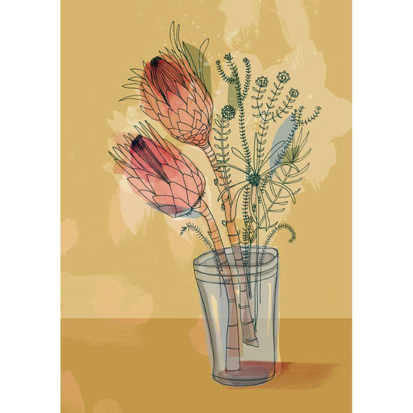 Protea in a Jar - Yellow - unframed - by Paula Mills Art. Australian Art Prints. Green Door Decor. www.greendoordecor.com.au