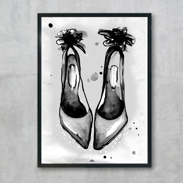 Pump - black print, by Susan Kerian Fashion Illustrator. Australian Art Prints. Green Door Decor. www.greendoordecor.com.au