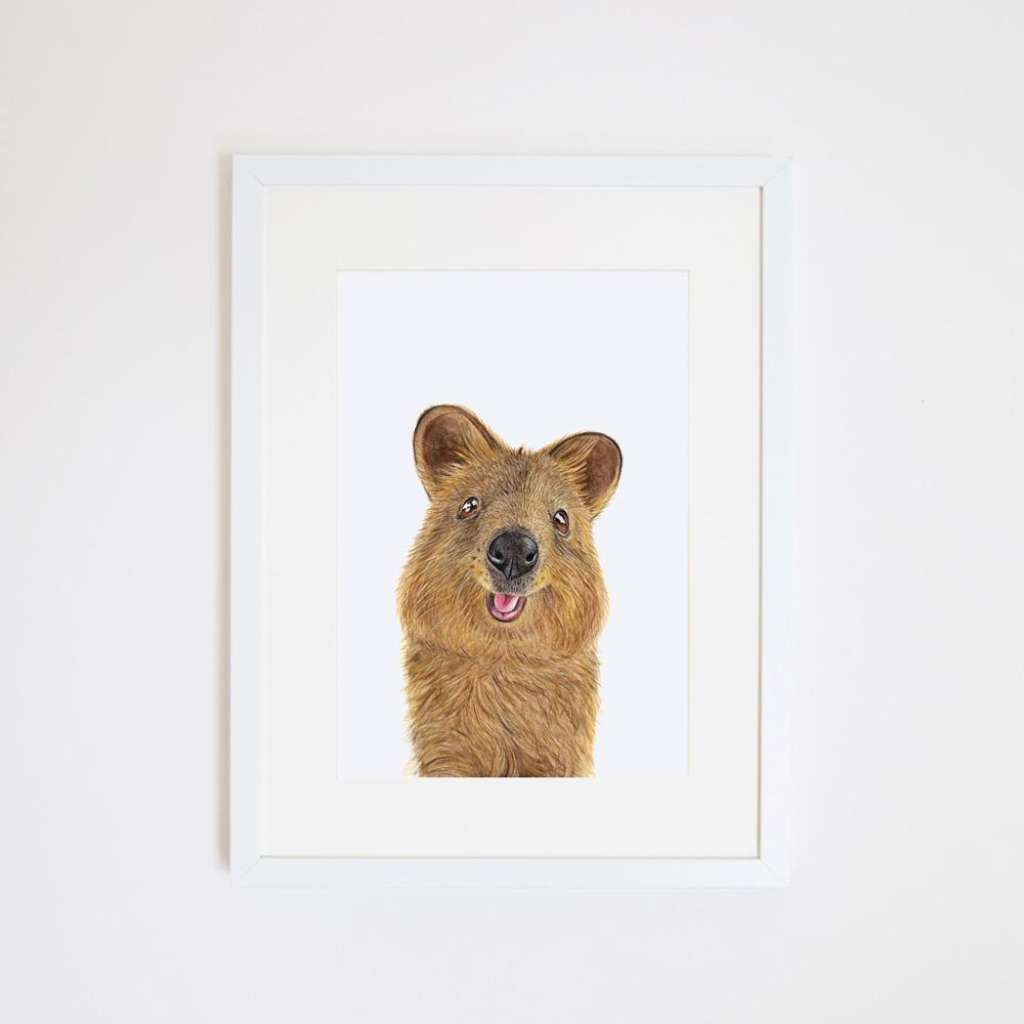 Quentin the quokka, by For Me By Dee. Australian Art Prints. Green Door Decor.  www.greendoordecor.com.au