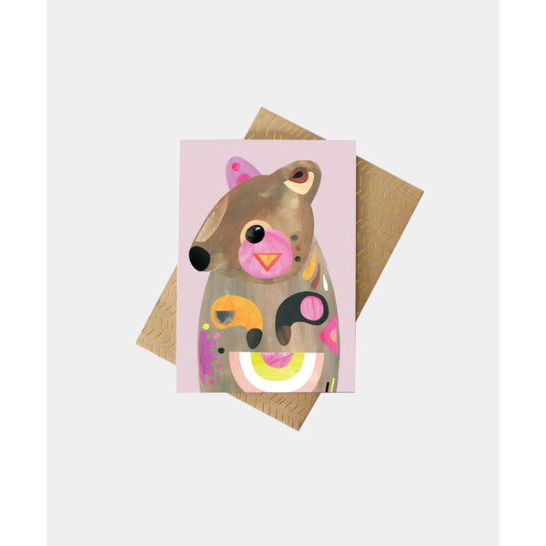 Quokka Greeting Card by Pete Cromer. Australian Art Prints and Homewares. Green Door Decor. www.greendoordecor.com.au