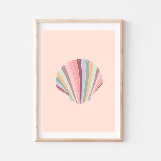 Rainbow Seashell Print by My Hidden Forest. Australian Art Prints and Homewares. Green Door Decor. www.greendoordecor.com.au