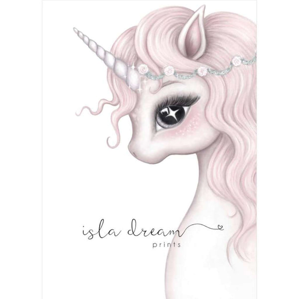 Rosa the Unicorn, by Isla Dream. Australian Art Prints. Green Door Decor.  www.greendoordecor.com.au