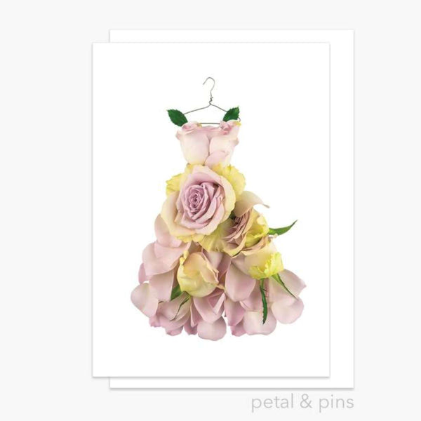 Rosa Dress Card - by Petals & Pins. Australian Art Prints. Green Door Decor. www.greendoordecor.com.au