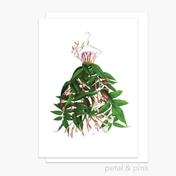 Jasmine Dress Greeting Card - by Petals & Pins. Australian Art Prints. Green Door Decor. www.greendoordecor.com.au