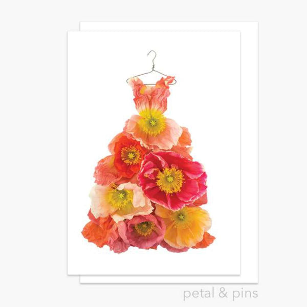 Poppy Dress Greeting Card - by Petals & Pins. Australian Art Prints. Green Door Decor. www.greendoordecor.com.au